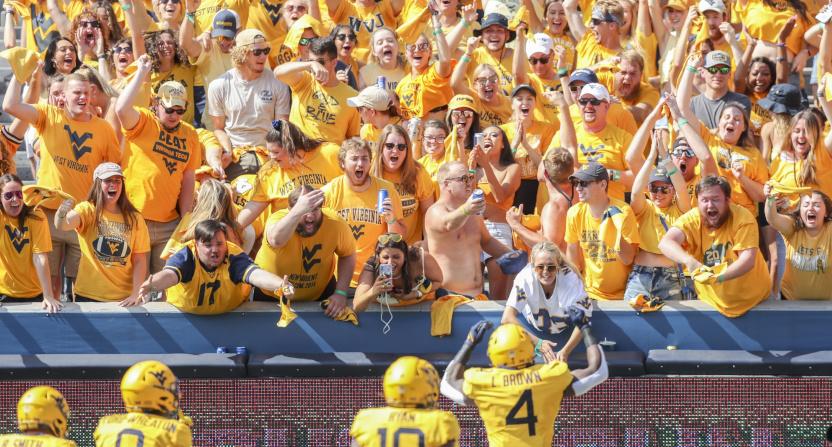 West Virginia celebrating a Leddie Brown TD against Virginia Tech.