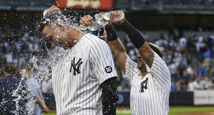 Aaron Judge celebrating a Game 162 win.