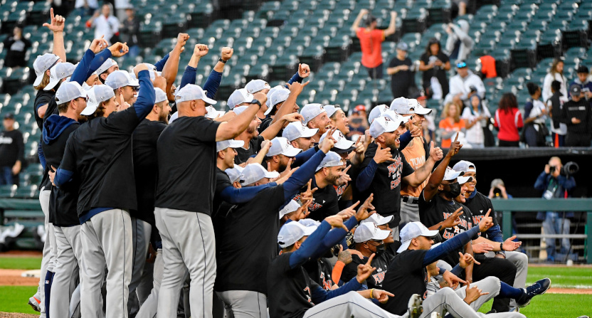 The Astros celebrate an ALDS win against the White Sox.