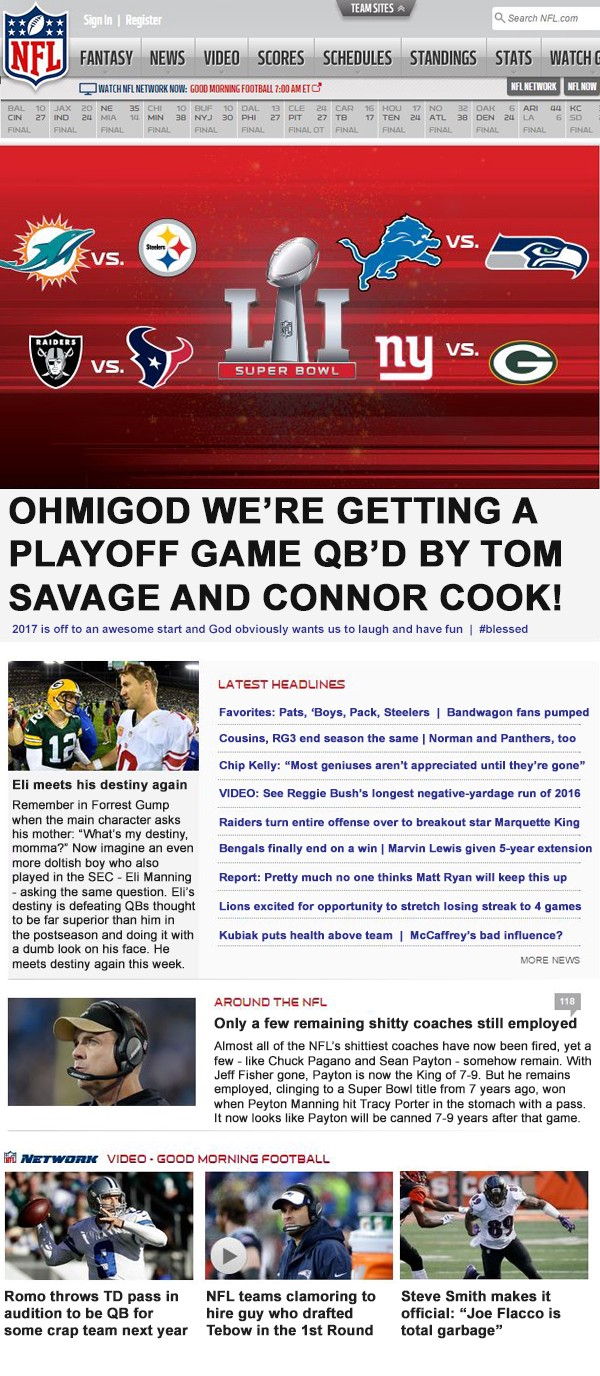 honest nfl headlines week 17
