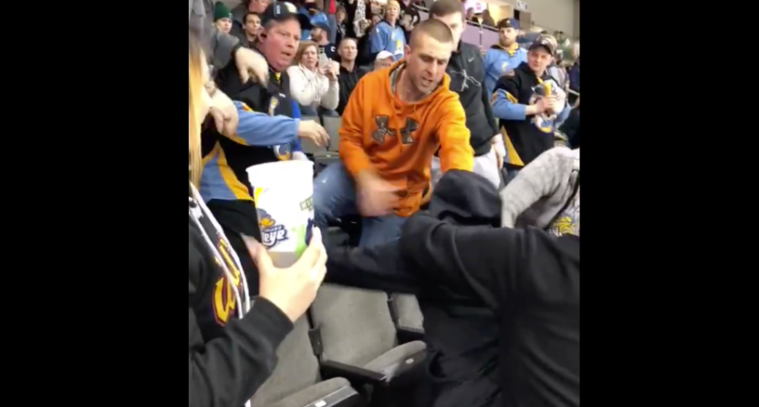 the fan fight at this echl hockey game was on another level next