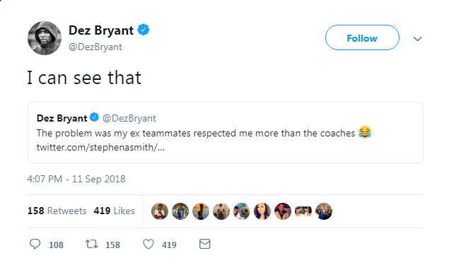 It Appears Dez Bryant Was Caught Using A Burner Twitter