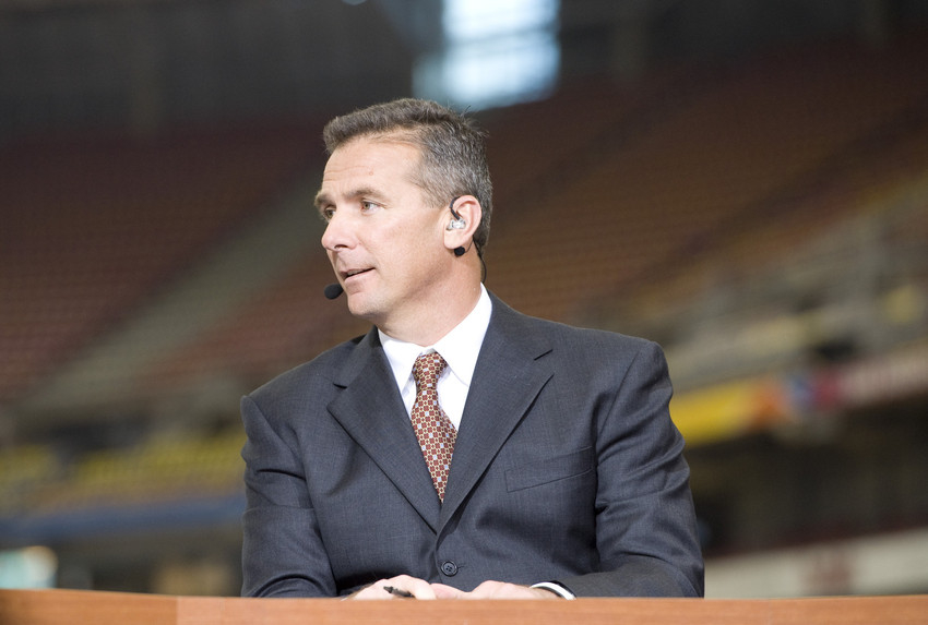 Urban Meyer working as an ESPN analyst in January 2011.