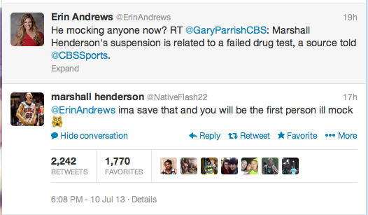 Marshall Henderson doesn't appreciate Erin Andrews' commentary