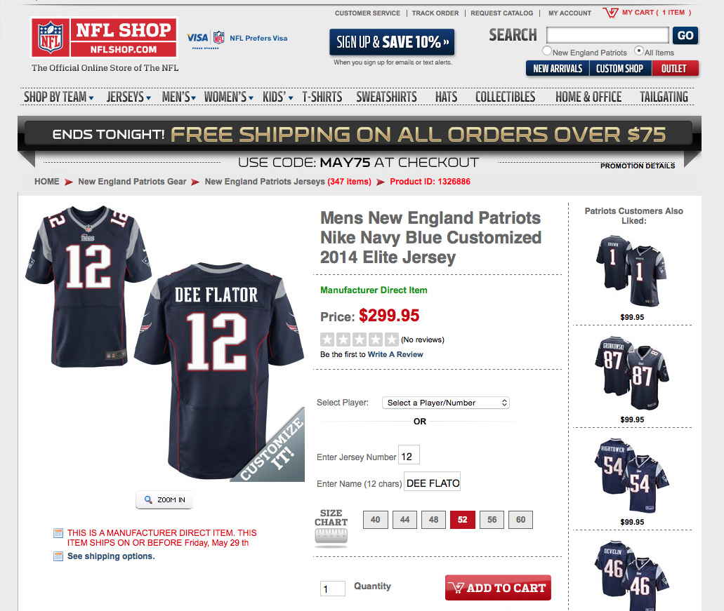 NFLShop.com Won t Let Fans Create A DeflateGate Jersey. What Can You ... b83ebead2f0b