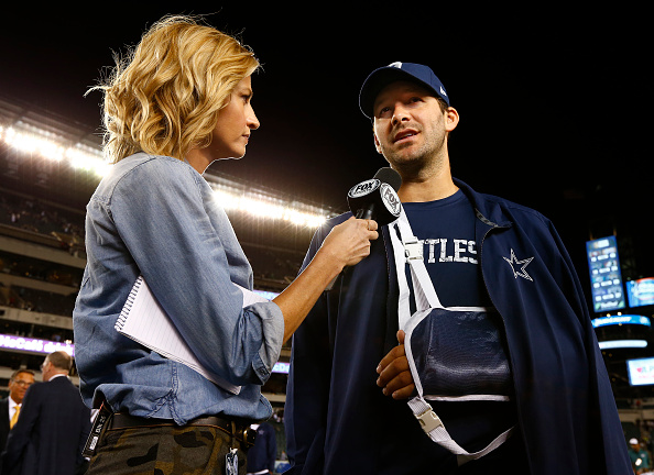 PHILADELPHIA, PA - SEPTEMBER 20: Erin Andrews of Fox Sports interviewed Tony Romo #9 of the Dallas Cowboys after their football game against the Philadelphia Eagles at Lincoln Financial Field on September 20, 2015 in Philadelphia, Pennsylvania. The Cowboys defeated the Eagles 20-10. (Photo by Rich Schultz /Getty Images)