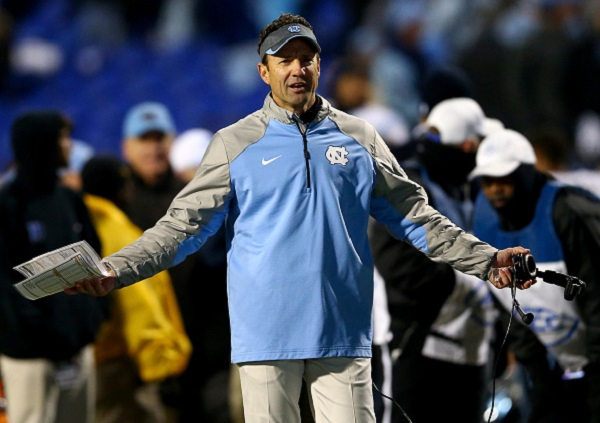 DURHAM, NC - NOVEMBER 20:  Head coach Larry Fedora of the North Carolina Tar Heels during their game at Wallace Wade Stadium on November 20, 2014 in Durham, North Carolina.  (Photo by Streeter Lecka/Getty Images)