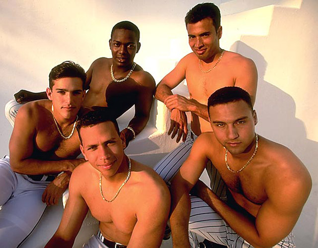 Baseball: Feature. Casual portrait of (clockwise L-R) Toronto Blue Jays Alex Gonzalez,  Florida Marlins Edgar Renteria, NY Mets Rey Ordonez, NY Yankees Derek Jeter and Seattle Mariners Alex Rodriguez. Players are topless.