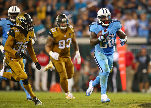 JACKSONVILLE, FL - NOVEMBER 19: Antonio Andrews #26 of the Tennessee Titans in action during the second half of the game against the Jacksonville Jaguars at EverBank Field on November 19, 2015 in Jacksonville, Florida.  (Photo by Rob Foldy/Getty Images)