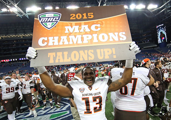 DETROIT, MI - DECEMBER 4: Jamari Bozeman #13 of the Bowling Green Falcons celebrates a win over Northern Illinois Huskies in the MAC Championship on December 4, 2015 at Ford Field in Detroit, Michigan. The Falcons defeated the Huskies 34-14. (Photo by Leon Halip/Getty Images)