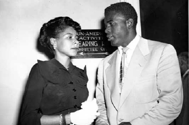 Jackie Robinson, star infielder of the Brooklyn Dodgers, and his wife, Rachel, stand outside the House Un-American Activities Committee Hearing Room in Washington, D.C. on July 18, 1949. (AP Photo)