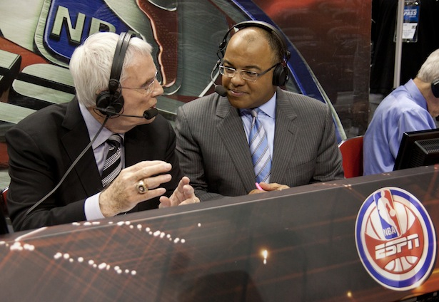 Thursday, May 6, 2010 -- Orlando, Fla. -- Amway Arena -- The NBA Playoffs on ESPN -- Commentators Hubie Brown (l) and Mike Tirico call the action for the Atlanta Hawks at Orlando Magic game