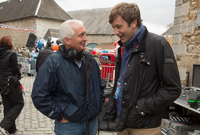 Journalist David Walsh and actor Chris O'Dowd on the set of 'The Program.'