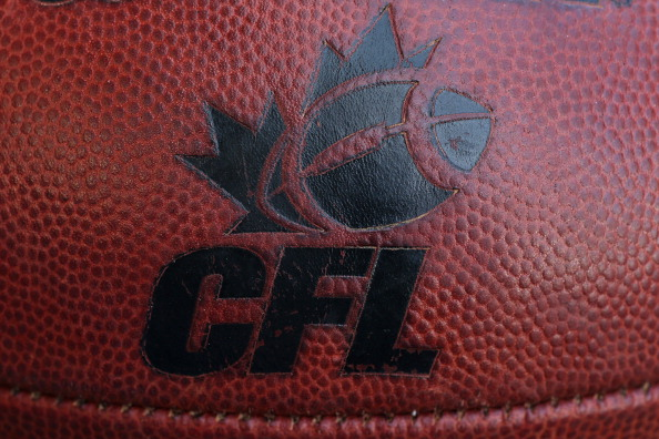TORONTO, CANADA - JULY 11: The CFL logo on an official Canadian CFL league ball during warm-ups before the Saskatchewan Roughriders CFL game against the Toronto Argonauts on July 11, 2013 at Rogers Centre in Toronto, Ontario, Canada. (Photo by Tom Szczerbowski/Getty Images)