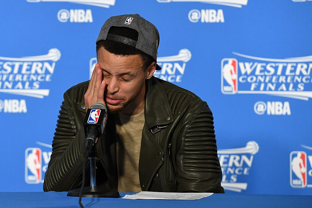 OAKLAND, CA - MAY 30: Stephen Curry #30 of the Golden State Warriors speaks to members of the media following their 96-88 win over the Oklahoma City Thunder in Game Seven of the Western Conference Finals during the 2016 NBA Playoffs at ORACLE Arena on May 30, 2016 in Oakland, California. (Photo by Thearon W. Henderson/Getty Images)