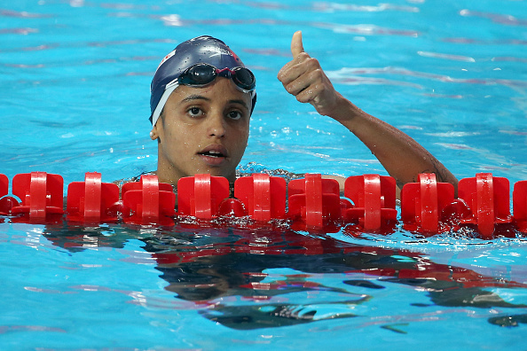 KAZAN, RUSSIA - AUGUST 05:  Etiene Medeiros of Brazil celebrates after the Women's 50m Backstroke Semi-Finals on day twelve of the 16th FINA World Championships at the Kazan Arena on August 5, 2015 in Kazan, Russia.  (Photo by Streeter Lecka/Getty Images)