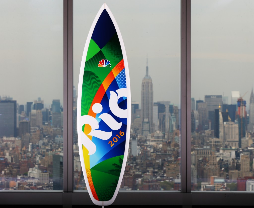 NEW YORK, NY - APRIL 25:  (EDITORS NOTE: This image has been retouched to remove reflections) The NBC USOC sponsor surfboard is seen in One World Trade Center on April 25, 2016 in New York City.  (Photo by Elsa/Getty Images for USOC)