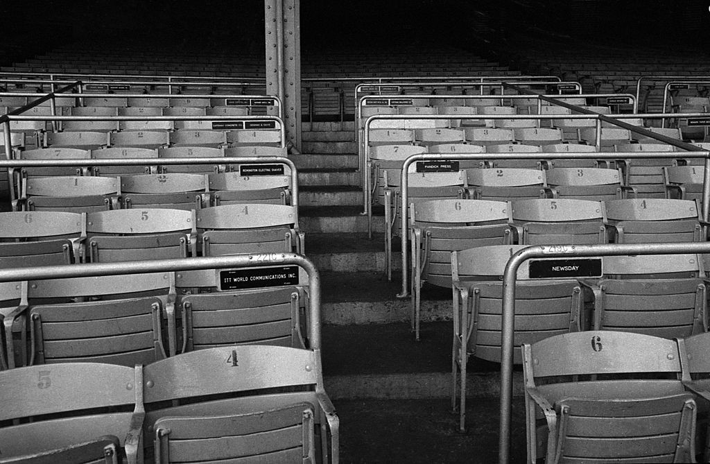 Empty seats at Yankee Stadium, New York City, New York.  Image dated December 16, 1966. (Photo by CBS Photo Archive/Getty Images)