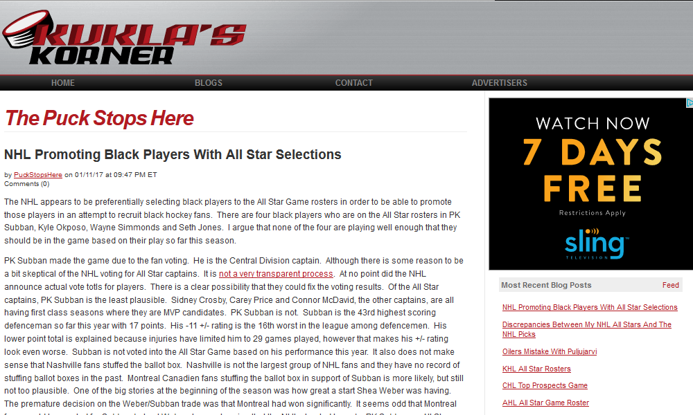 The Puck Stops Here's blogger's rant about black players.