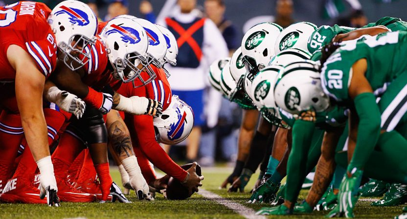 Thursday Night Football games, like this infamous 2015 Jets-Bills one, are going to Amazon in 2017.