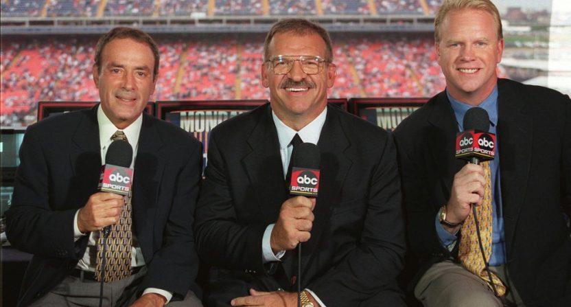 Al Michaels, Dan Dierdorf and Boomer Esiason on Monday Night Football in 1998.