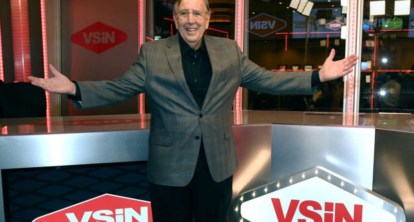 Brent Musburger with Vegas Sports and Information Network logos.