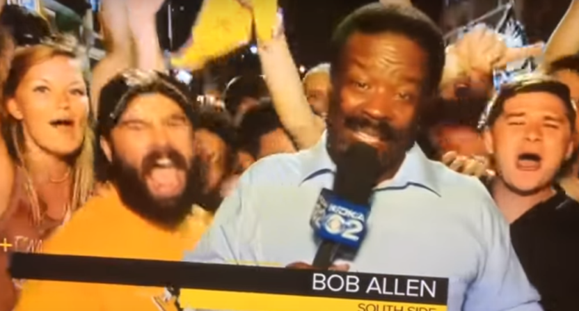 CBS Pittsburgh reporter Bob Allen had his segment interrupted by rowdy fans.
