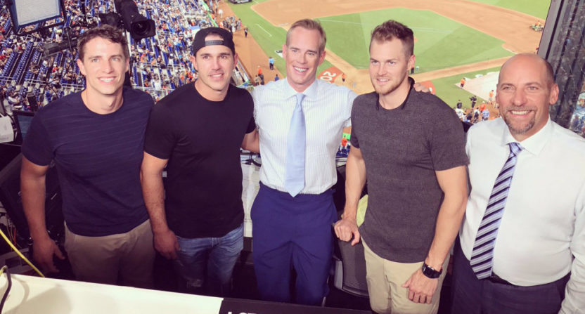 Brooks Koepka (second from left) and Joe Buck (center) met up at the All-Star Game.