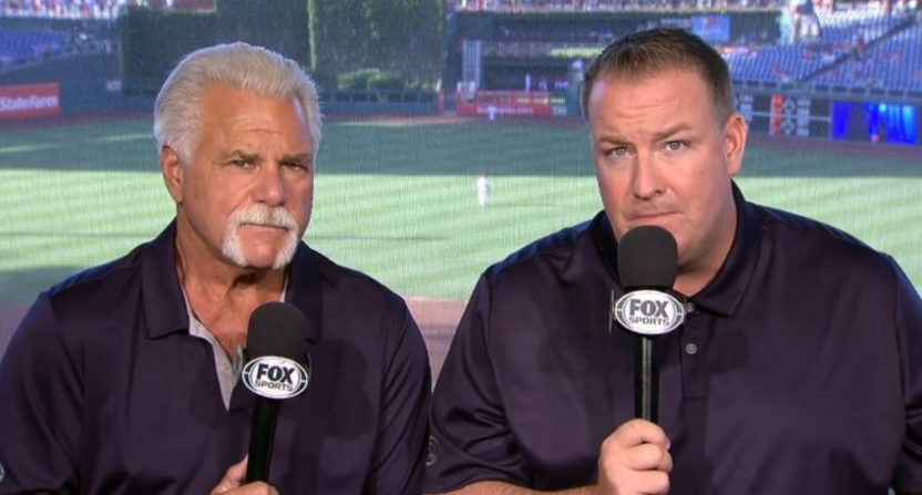 Cardinals' announcer Dan McLaughlin (R, with Al Hrabosky) booed Jordan Lyles for pitching too slowly.