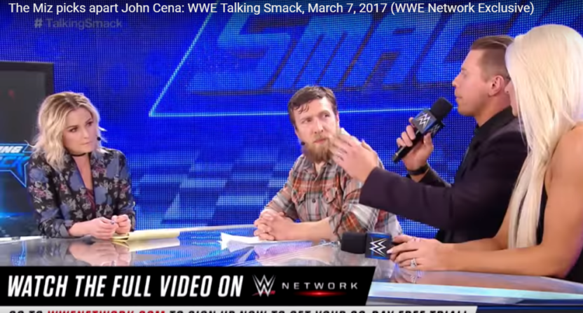 WWE cancelled Talking Smack as a weekly show, and Renee Young (L) and Daniel Bryan (C) apparently found out through Twitter.