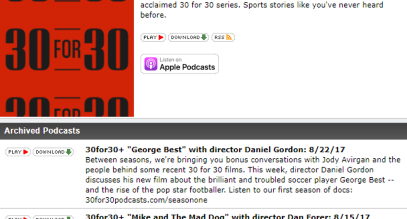 ESPN is launching some 30 for 30 Podcasts bonus episodes.