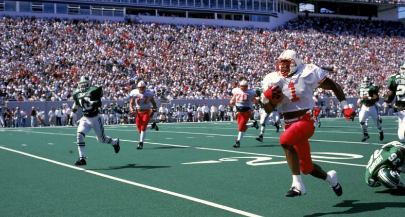 Lawrence Phillips at Nebraska in a 1995 game against Michigan State.