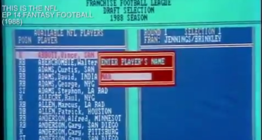 Computer fantasy football software from the 1980s.