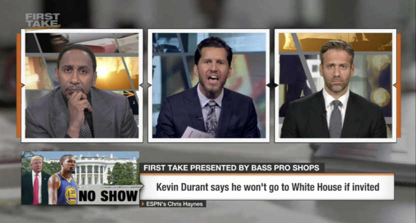 294ff7b12f43 Will Cain goes off on Stephen A. Smith and Max Kellerman about Kevin Durant  White House visit