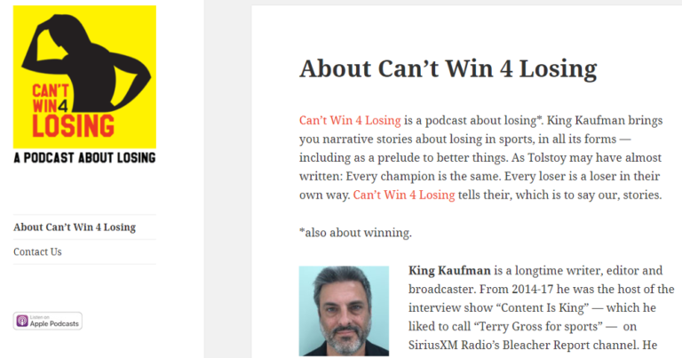 King Kaufman's Can't Win 4 Losing podcast.