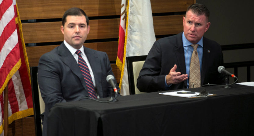49ers' CEO Jed York (L) and San Jose POA president Paul Kelly were amongst those who discussed gun violence and a 49ers-police union effort to end it Thursday.