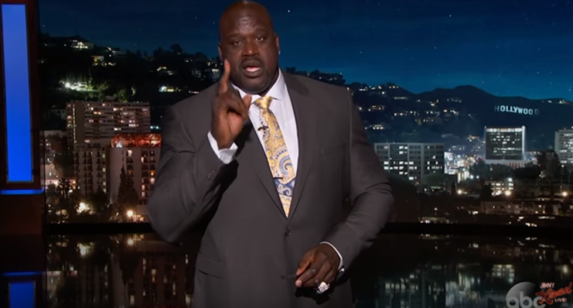 Shaquille O'Neal guest-hosting on Jimmy Kimmel Live.