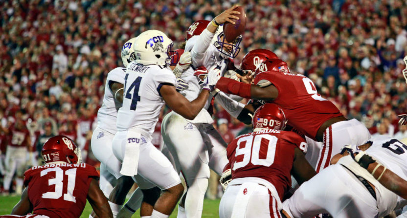 Oklahoma beat TCU 38-20 despite this Kenny Hill touchdown, but the game didn't draw well nationally.