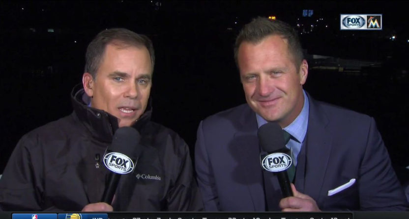 Rich Waltz (L) and Todd Hollandsworth on Fox Sports Florida's Marlins' broadcast.