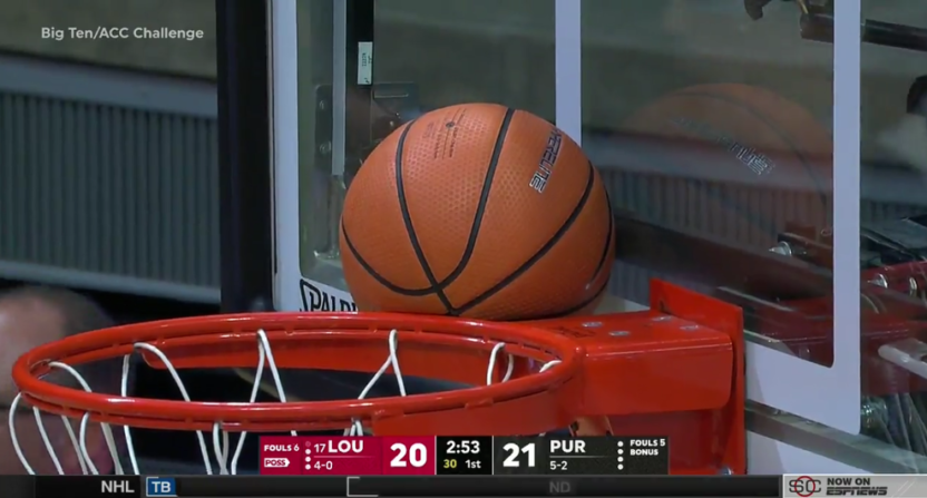 This stuck ball represents ESPN broadcast issues Tuesday, where they went to a commercial break during a TV timeout the referees somehow didn't call.