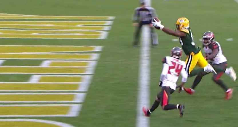 Aaron Jones leapt in for a touchdown against the Bucs.