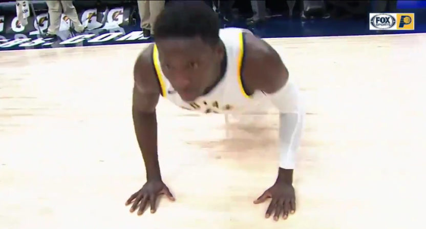 Victor Oladipo did pushups before a post-game interview Wednesday.