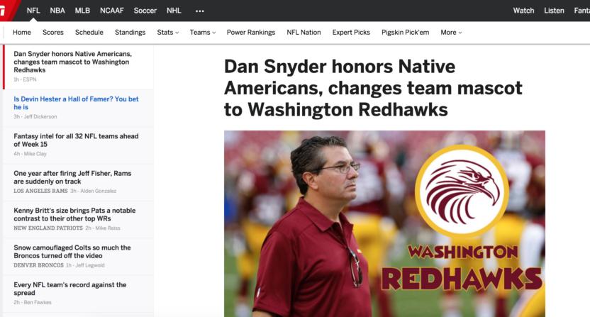 washington redhawks-fake news-washington post-espn-bleacher report-sports illustrated