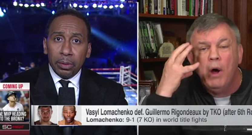 Stephen A. Smith (L) and Teddy Atlas on ESPN Dec. 9.