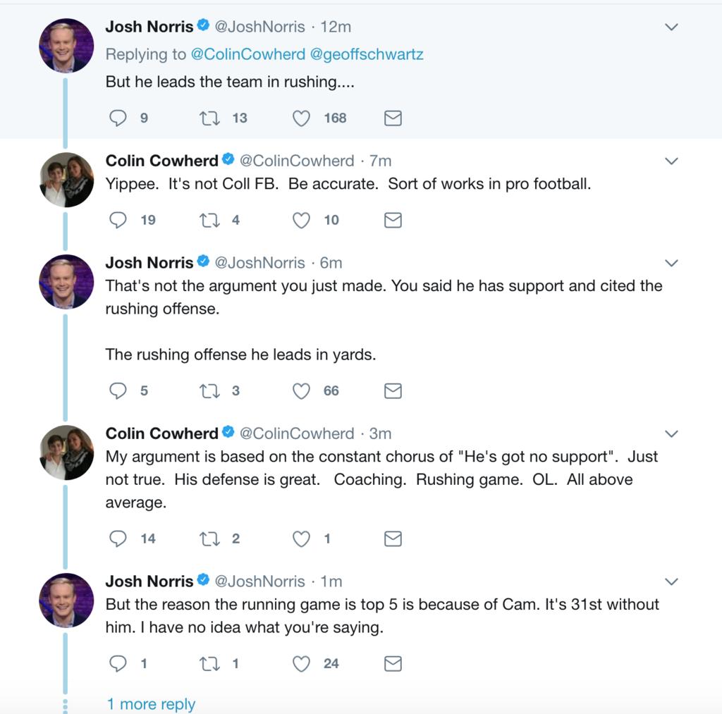 Colin Cowherd argues about Cam Newton.