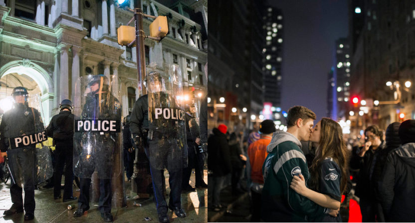 Two different photos of the celebrations in Philadelphia.