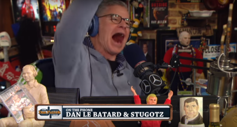 "Dan Patrick and Dan Le Batard had their shows cross over Friday for a Patrick-Stugotz ""feud."""