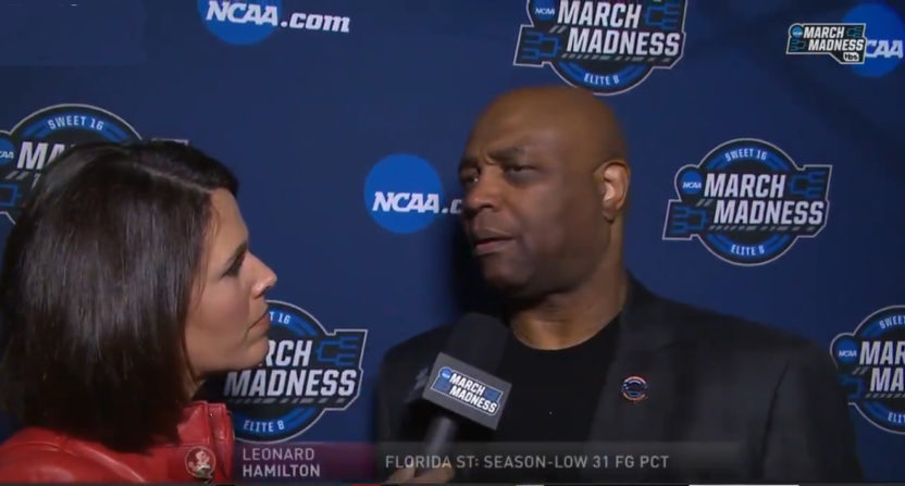 Dana Jacobson interviewing Leonard Hamilton.