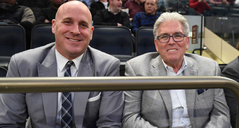 CAA's Mike Levine (L) with Mike Francesa.