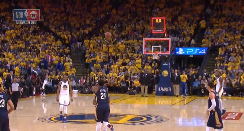 Darius Miller drilled this buzzer beater against the Warriors.